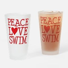peace love swim red Drinking Glass