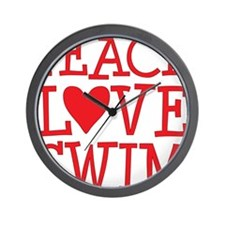 peace love swim red Wall Clock