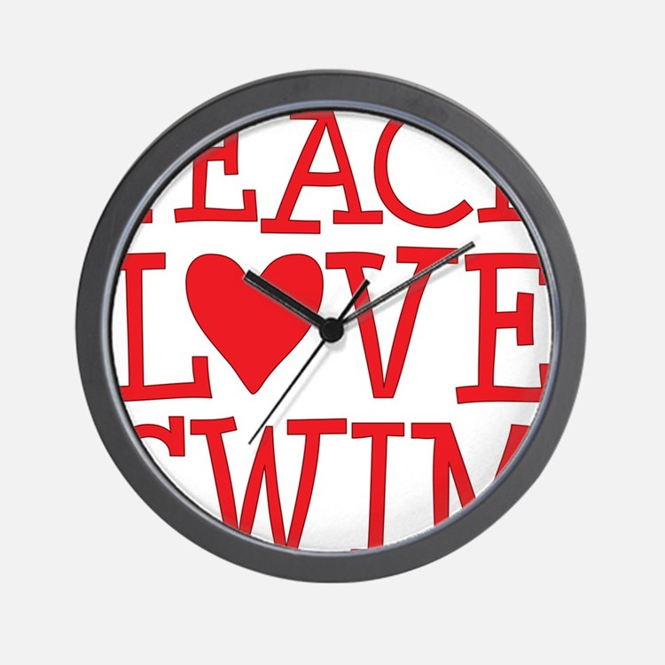 peace love swim red Wall Clock