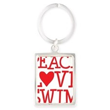 peace love swim red Portrait Keychain