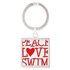 peace love swim red Square Keychain