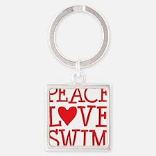 peace love swim red Square Keychain