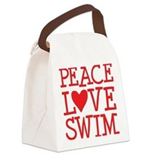 peace love swim red Canvas Lunch Bag