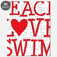 peace love swim red Puzzle