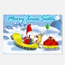 xmas sledge, sister Postcards (Package of 8)