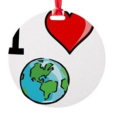 I Heart Earth Black Ornament