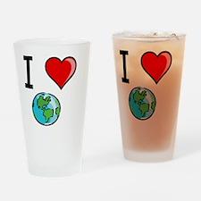 I Heart Earth Black Drinking Glass