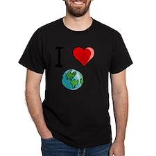 I Heart Earth Black T-Shirt