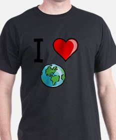 I Heart Earth Black T-Shirt