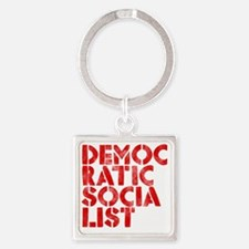 DEM-SOC-RED Square Keychain