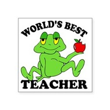 "Frog Apple Square Sticker 3"" x 3"""