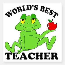 "Frog Apple Square Car Magnet 3"" x 3"""