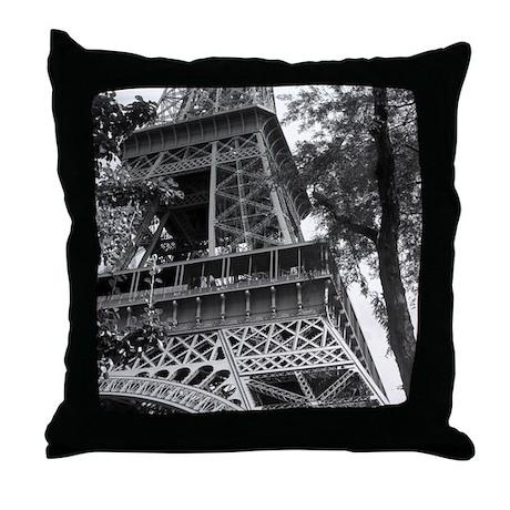 Black and White Eiffel Tower 3 Throw Pillow