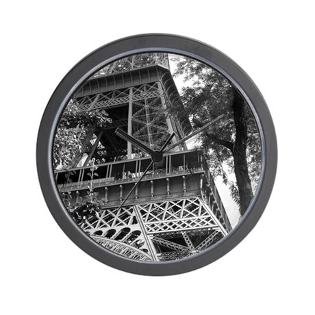Black and White Eiffel Tower 3 Wall Clock