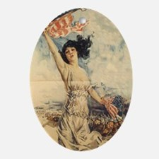 Lady with Flag pendant Oval Ornament