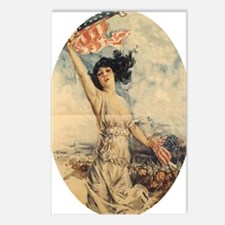 Lady with Flag pendant Postcards (Package of 8)