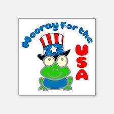 "frog-USA Square Sticker 3"" x 3"""