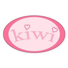 """""""Kiwi with Hearts"""" Oval Decal"""