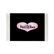 Maid Of Honor - Pink Heart Rectangle Magnet