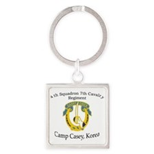 4th Squadron 7th Cavalry Square Keychain