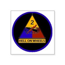 """2nd-Armored-Division-round- Square Sticker 3"""" x 3"""""""