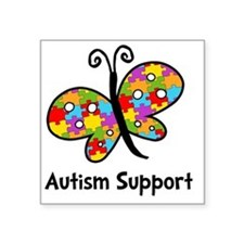 """Autism Butterfly Square Sticker 3"""" x 3"""""""