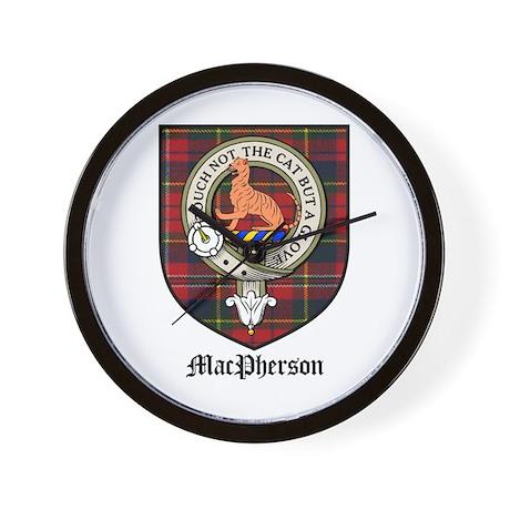 MacPherson Clan Crest Tartan Wall Clock