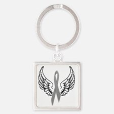 Angel Wings Cure Parkinsons Square Keychain