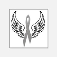"Angel Wings Cure Parkinsons Square Sticker 3"" x 3"""