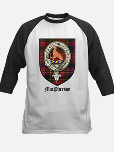 MacPherson Clan Crest Tartan Kids Baseball Jersey