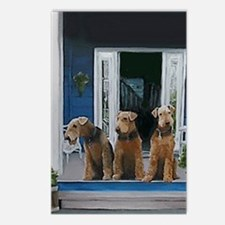 3 Airedale on porchlljkj Postcards (Package of 8)