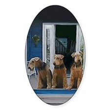 3 Airedale on porchlljkj Decal