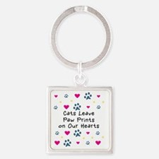 cats-leave-paw-prints-k Square Keychain
