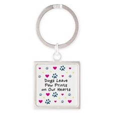 Dogs Leave Paw Prints on Our Heart Square Keychain