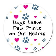 Dogs Leave Paw Prints on Our Hear Round Car Magnet