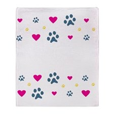 Dogs Leave Paw Prints on Our Hearts Throw Blanket