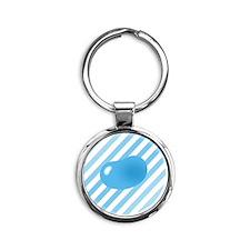 big_jelly_bean_blue_stripes_b Round Keychain