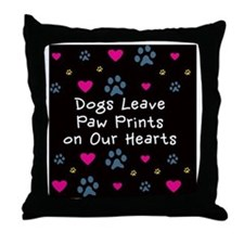 Dogs Leave Paw Prints on Our Hearts Throw Pillow