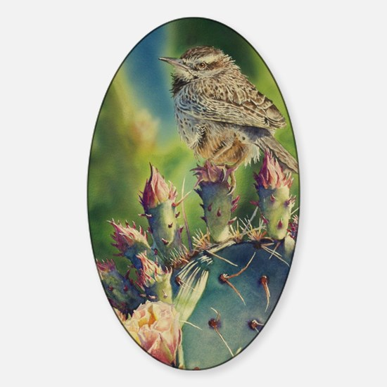 Cactus and Wren Sticker (Oval)