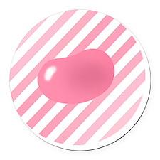 big_jelly_bean_pink_stripes_b Round Car Magnet