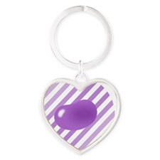 big_jelly_bean_purple_stripe_b Heart Keychain