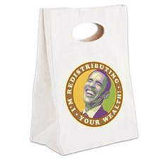 obama-laughingart flat Canvas Lunch Tote