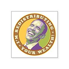 "obama-laughingart flat Square Sticker 3"" x 3"""
