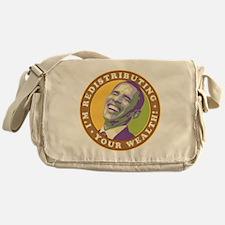 obama-laughingart flat Messenger Bag