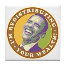 obama-laughingart flat Tile Coaster