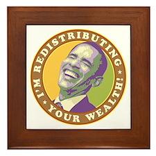 obama-laughingart flat Framed Tile