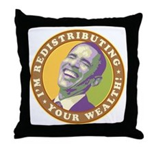 obama-laughingart flat Throw Pillow