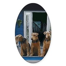 3 Airedale on porc long Decal