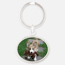 corgi_puppy_and_friend Oval Keychain