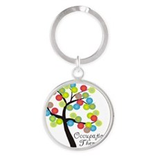 Occupational Therapist Tree bubbles Round Keychain